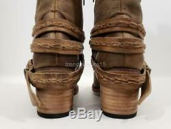 New $325 Sz 8 Freebird By Steven Canon Tan Distressed Belted Riding Boots