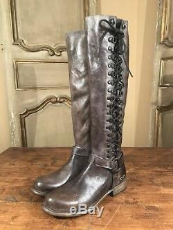 New Bed Stu Burnley Womens Tall Riding Lace Up Campus Boots Cobbler Size 8 Light