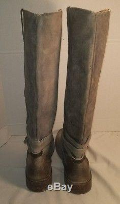 New Frye Women's Stone Leather Shirley Plate Riding Boots Woman's Size 9
