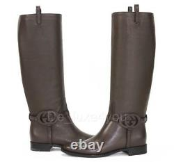 New Gucci Calf Brown Leather 3-D Interlocking GG Riding Tall Boots 37.5 US 7.5