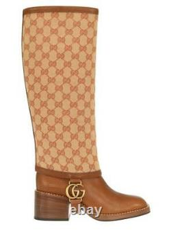 New Gucci Lola Gg Guccissima Canvas Leather Riding Double G Boots Shoes 34/us 4