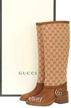 New Gucci Lola Gg Guccissima Canvas Leather Riding Double G Boots Shoes 35/us 5