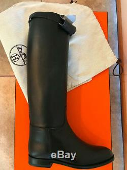 New Hermes Women Black Jumping Boots Calfskin Leather Kelly Strap Size 7/37.5