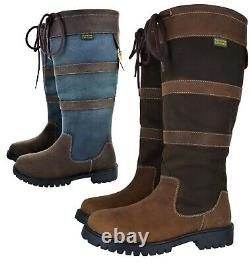 New Ladies Womens Waterproof Ridng Long Wide Calf Leather Upper Horse Boots
