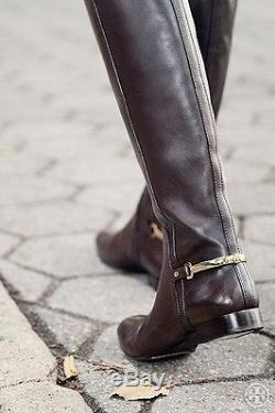 New Tory Burch Jess Tall Riding Size 10 M Black Leather Women's Knee High Boots