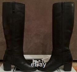 New Women Frye Malorie Knotted Black Leather Tall Boots Not Distressed Sz 7.5
