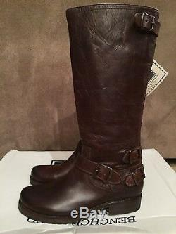 New Women Frye Veronica Brown Back Zip Tall Leather Boots Sz 7.5