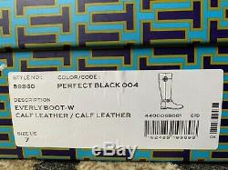 New in Box Tory Burch Women's Everly Knee High Wide Calf Riding Boot Black Sz 7M
