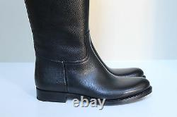New sz 10.5 / 41 Prada Pull On Riding Black Leather Knee High Flat Boot Shoes