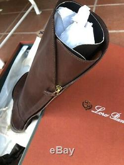 Nib Women's Loro Piana Welly Brown Boots 7.5 Classic Style $2450 Dust Covers