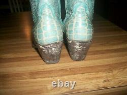 Old Gringo Turquoise Blue Bone 8 Leather Ankle Boots Size 8
