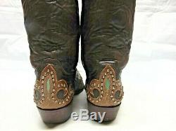 Old Gringo Women's 9 Brown & Turquoises Leather Silver Studs Western Ride Boots