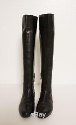 PRADA Womens Black Leather Knee-High Round-Toe Flat Riding Boots Shoes 7.5-37.5