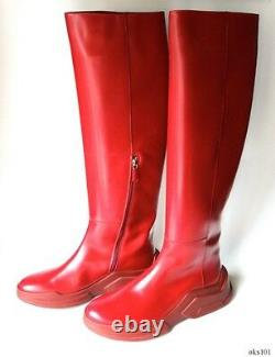 PRADA red leather 39.5 9.5 rubber sole TALL RIDING BOOTS runway new $1750