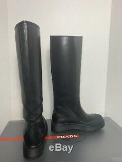Prada Lug Sole Black Riding Motorcycle Pull Boot Weather Proof Women NWT$900+9
