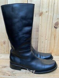 Prada Pull On Riding Black Leather Knee High Flat Boot Shoes, Sz 37 US 7