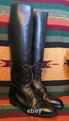RALPH LAUREN Vtg 80s Black Lace-Up English Riding Field Boot 6B Italy Mint RARE
