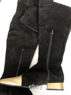Rare Vtg Gianni Versace AW1994 Black Suede Gold Leather Boots Size 35.5