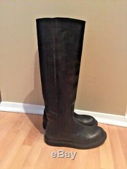 Rick Owens RO BOOT WOMENS Black LEATHER Knee TALL Riding BOOTS 41