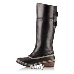Sorel Slimpack II Tall Black Kettle Leather Winter Snow Riding Boot Size 7
