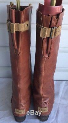 Sorel Slimpack Womens Tall Riding leather Rubber Brown- Black Boots Sz 12