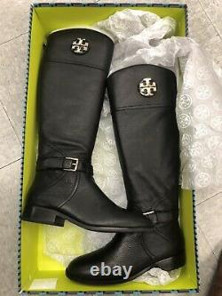 TORY BURCH 50922 ADELINE 21MM BLACK TUMBLED LEATHER RIDING BOOTS, Sz 9, See desc