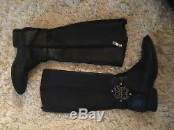 TORY BURCH BLACK LEATHER EMBOSSED LOGO RIDING KNEE HIGH BOOTS sz 8 1/2