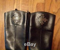 TORY BURCH Women Black Leather Riding, Equestrian boots Size 7M