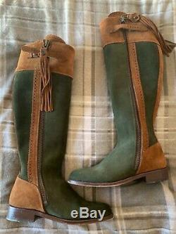 The spanish boot company womens riding boots suede camel & green size 5