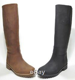 Timberland Woman's Main Hill Premium Leather Tall Boots Black Brown A1RTG A1RT5