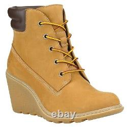 Timberland Womans Amston Wedge Heel Boots Wheat / Black 8251A 8253A