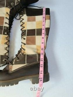 Timberland Womens Leather Suede Patchwork Tall Lace Up Brown Tan Boots Size 9M
