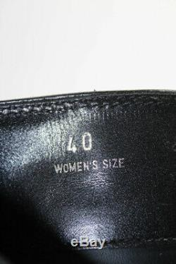 Tods Womens Knee High Riding Boots Black Leather Silver Buckle Size 40 10