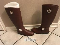 Tory Burch Adeline Almond Color Leather Riding Boots Women Size 10