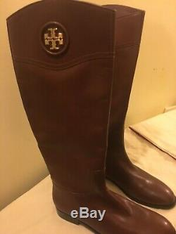 Tory Burch Ashlynn Almond Leather Tall Riding Boots Women's Size 12 M