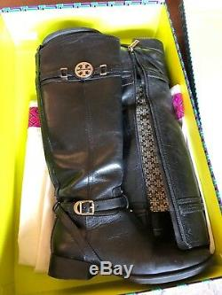Tory Burch Black Calysta Riding Boots Size 8.5 Womens Shoes Fashion Sale
