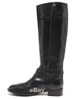 Tory Burch Eloise Leather Riding Boots Black Women Size 6.5M 1029