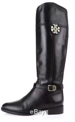Tory Burch Eloise Leather Riding Boots Black Women Size 6 M 1042