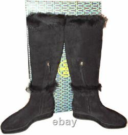 Tory Burch Marcel Boots Genuine Shearling Fur Lined Wedge Tall Knee Booties 8