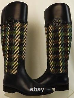 Tory Burch Miller Bright Navy Green Dogtooth Tweed Leather Reva Riding Boots 8