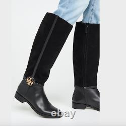 Tory Burch Miller Knee High Riding Boot Black Suede Leather Gold Logo US 5 $498