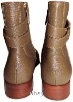 Tory Burch Riding Boots River Rock Tumbled Leather Gemini Gold Logo Booties 8