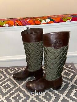 Tory Burch Rowan Green and Brown Leather Quilted Riding Boots Size 10 EUC