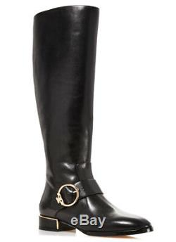 Tory Burch SOFIA Black Leather Riding Boots Flat Buckle Equestrian Booties 9