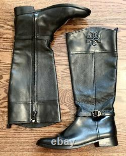 Tory Burch Simone Black Leather Boots Size 12 12M 12B 42