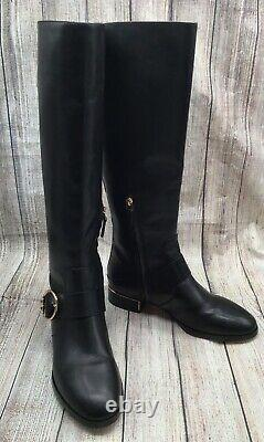 Tory Burch Sofia Black Leather Riding Boots Size 8 M