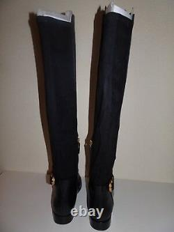 Tory Burch Tall Over The Knee Black Leather Boots Size 8 1/2 Medium New With Box