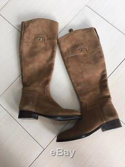 Tory Burch Wembley Women's Size 6.5 Suede Riding Boots Tobacco