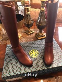 Tory Burch Womens derby riding boots size 9 antiuqe almond leather- brand new