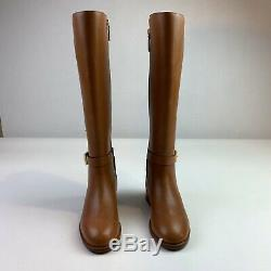 Tory Burch women boots Brown Leather Riding knee high buckle Brooke 7M New